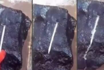 В Мьянме на видео запечатлен мгновенно раскаляющий металл инопланетный камень