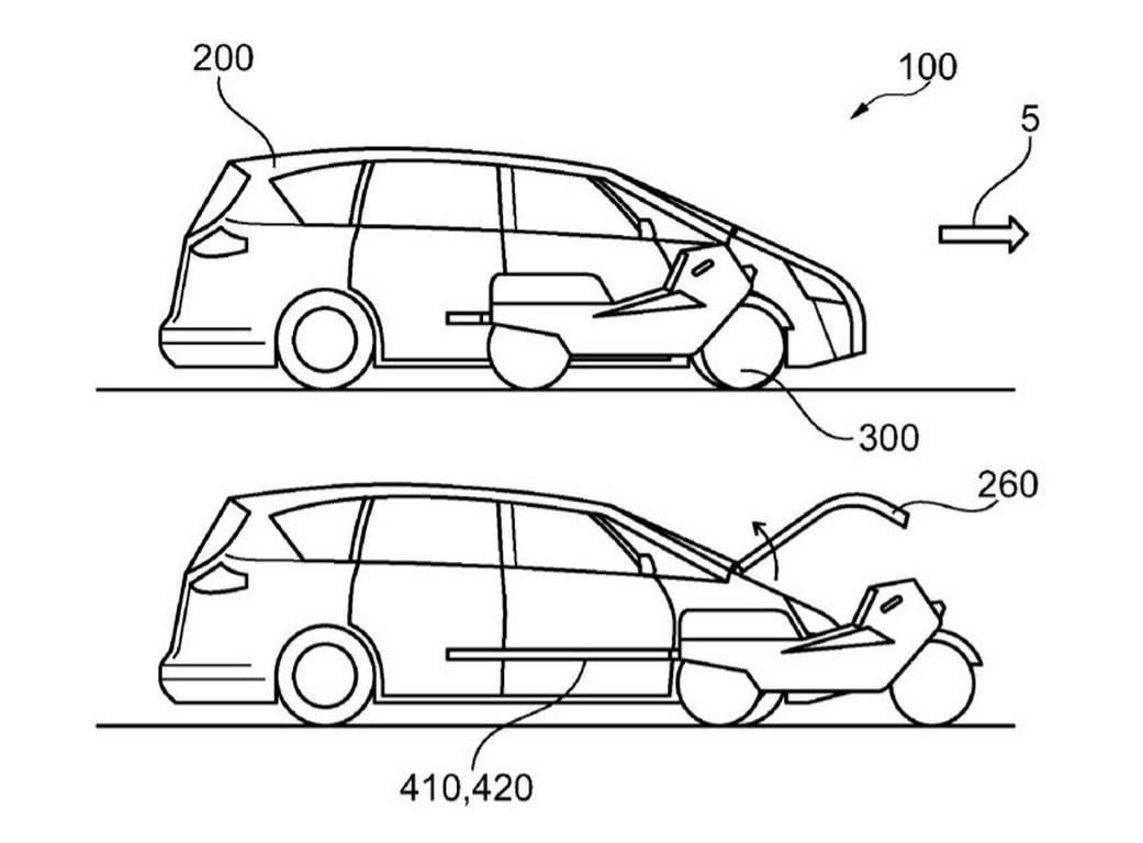Компания Ford запатентовала электромобиль со встроенным мотоциклом
