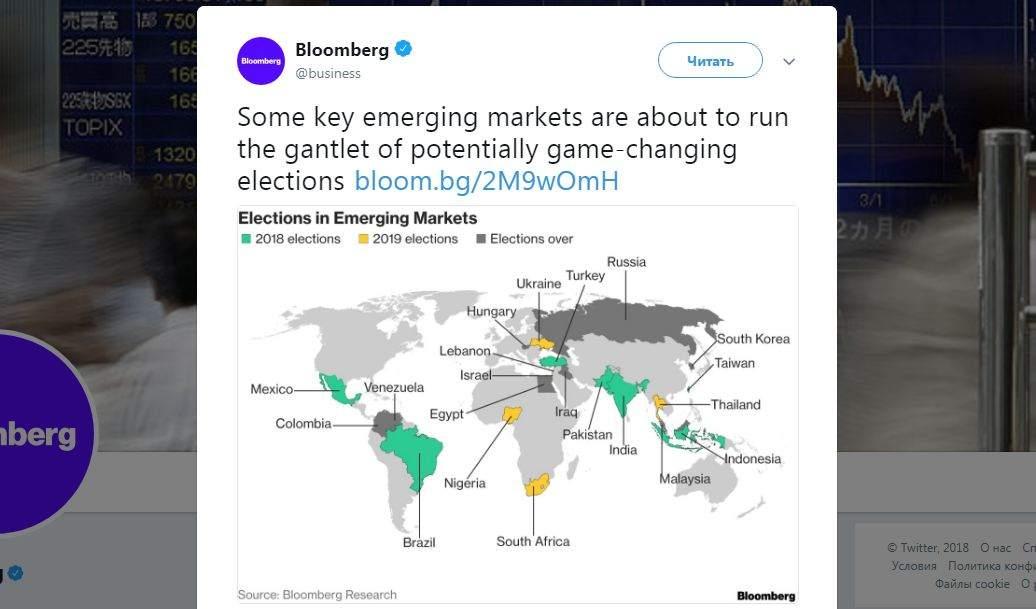 Bloomberg обнародовал карту мира с Украинским государством без Крыма