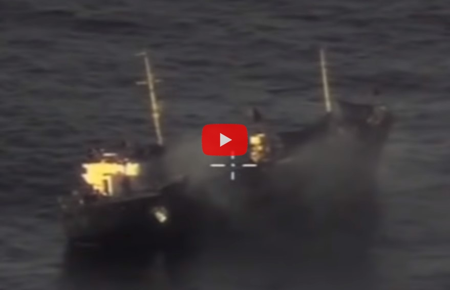 Минобороны показало удар ракет Х-35У по кораблям