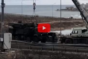 Появилось видео с перевернувшимся ЗРПК «Панцирь-С1» во Владивостоке