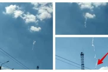 Жители Тулы запечатлели на видео падающий с неба неопознанный объект