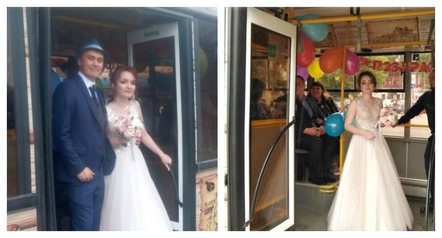 В Череповце молодожены отметили свадьбу в графобусе