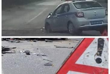 В Калуге полицейский автомобиль провалился в яму на дороге