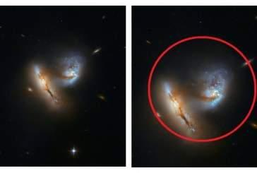 Телескоп Hubble снял начало слияния двух галактик
