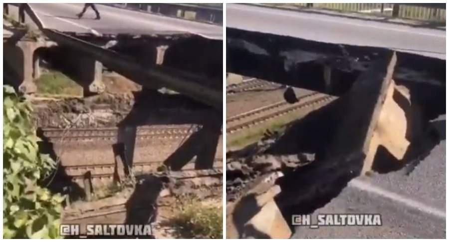 В Харькове частично обрушился автомобильный мост