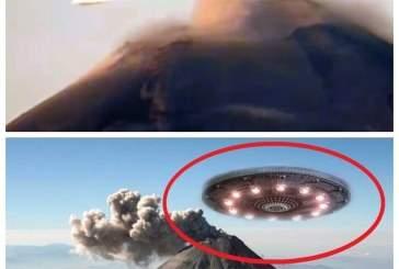 Появилось видео с пролетающим над жерлом вулкана НЛО