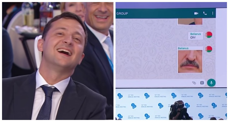 Зеленский посмеялся над шуткой про усы Лукашенко