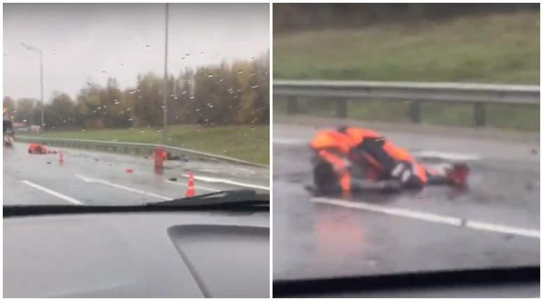 """Двое дорожных рабочих были сбиты на трассе М2 """"Крым"""" в Подольске"""