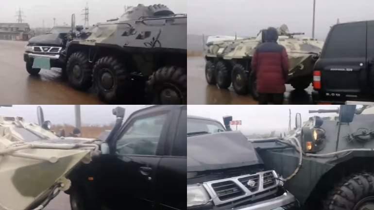 В Улан-Удэ внедорожник Nissan врезался в БТР
