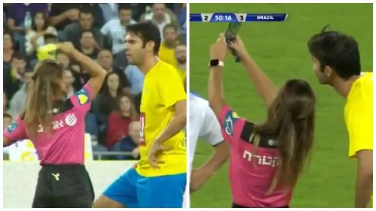 Девушка-арбитр показала футболисту жёлтую карточку, чтобы сделать селфи