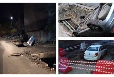 В Саратове два автомобиля угодили в коммунальные траншеи