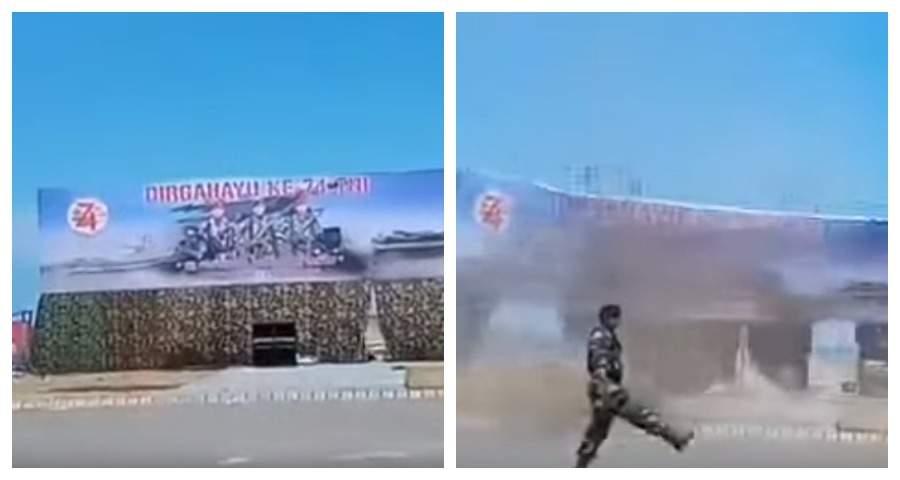 """Инцидент со снесшим трибуну во время парада """"летающим танком"""" попал на видео"""
