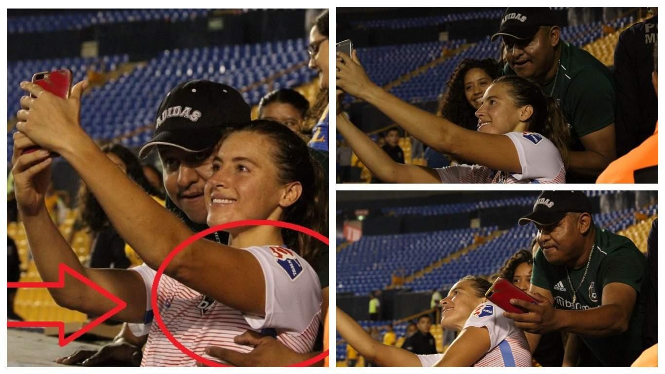 Матч между женскими командами закончился скандалом из-за фаната, взявшего футболистку за грудь во время селфи