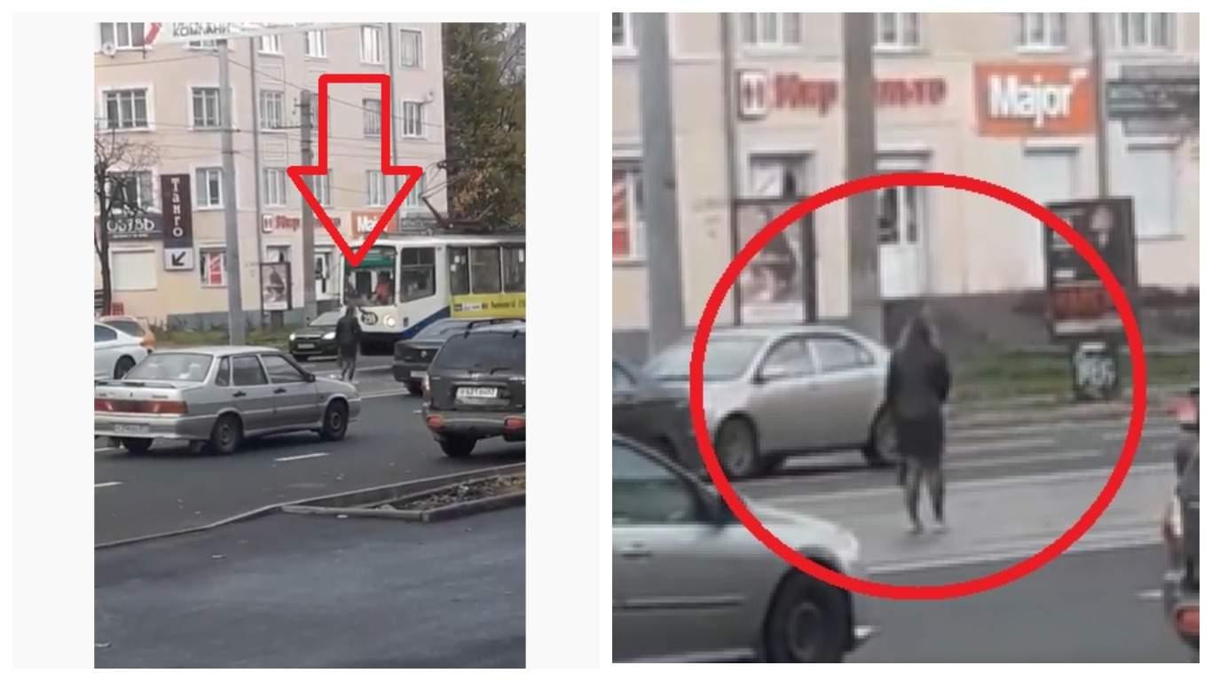 В Смоленске была снята на видео неадекватно ведущая себя женщина на трамвайных путях