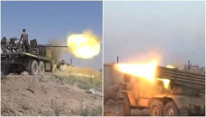 Видео: «Альбатросы», «Молотилки» и «Грады» вскрыли оборону боевиков в Идлибе