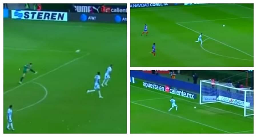 В Мексике вратарь забил невероятный гол ударом через всё поле