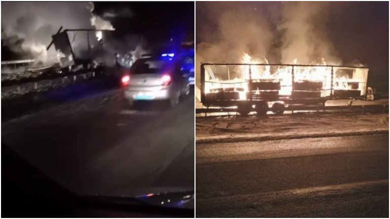 В аварии под Челябинском столкнулись грузовик и бензовоз