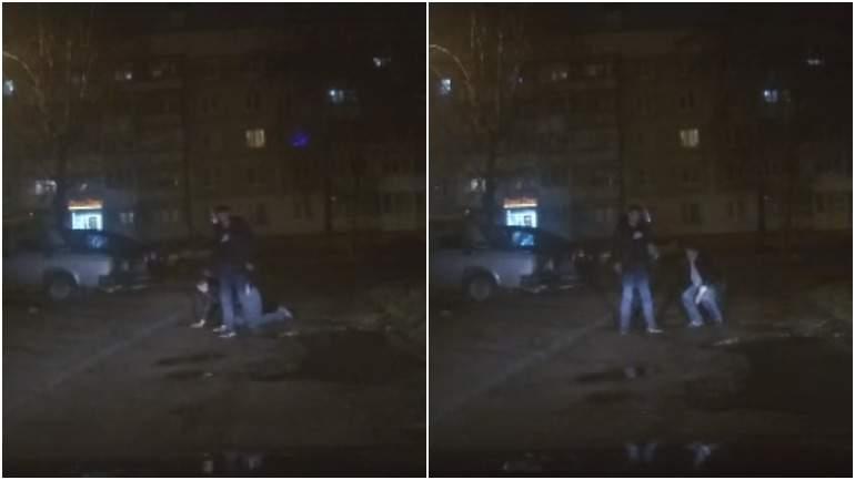Появилось видео «борьбы» двух пешеходов с гравитацией в Смоленске