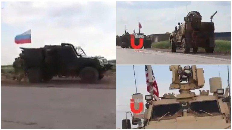 Появилось видео блокировки пути американцам российскими военными в Сирии