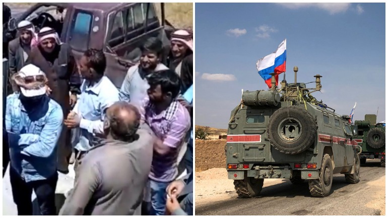 Толпа сирийцев остановила военный патруль России и попросила помощь