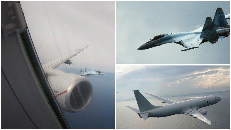 Появилось видео перехвата американского патрульного самолета российскими Су-35
