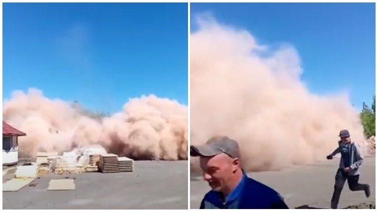 Появилось видео сноса старой водонапорной башни в Бийске