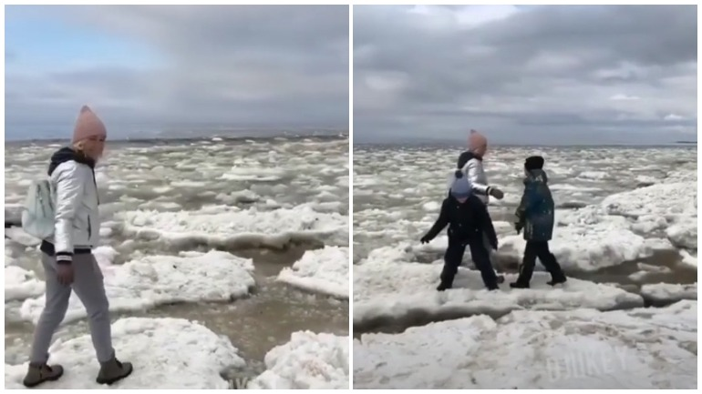 Танцы матери с детьми на льдинах в Северодвинске заинтересовали полицию