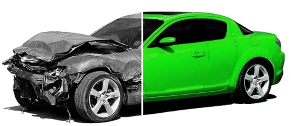 Как на фото целую машину сделать разбитой устроены